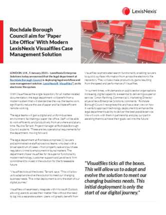 Rochdale Borough Council Aims for 'Paper Lite Office' With Modern Lexis Visualfiles Case Management Solution preview