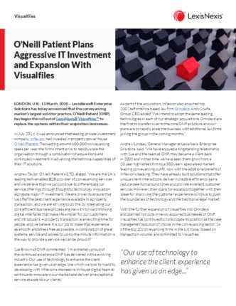 O'Neill Patient Plans Aggressive IT Investment and Expansion With Visualfiles preview