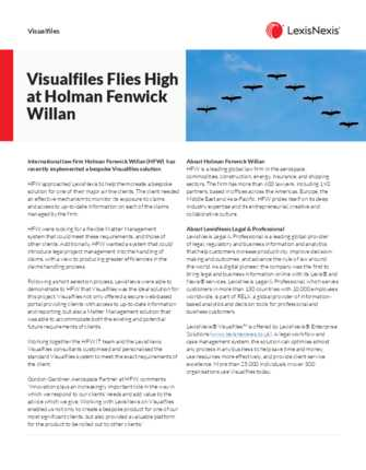 Visualfiles Flies High at Holman Fenwick Willan preview