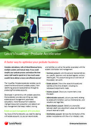 Lexis® Visualfiles™ Probate Accelerator preview