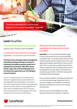 Thorntons Benefits from a Planned Approach to a Lexis® Visualfiles™ Upgrade. preview